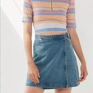 BDG Denim Wrap Belted Mini Skirt